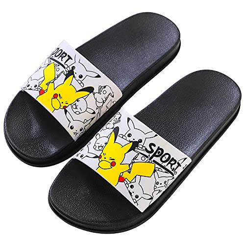 KaO0YaN Pikachu pantofole, simpatiche infradito estive, scarpe da spiaggia, morbide e creative, sandali da doccia da uomo, stile casual, bianco_EU37-38