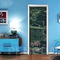 ZWYCEX ドアステッカー アート3Dはドアステッカーホームデコレーションビルツリー風景PVC壁画紙ピクチャー自己接着防水の壁紙を更新印刷 (Sticker Size : 77x200cm)