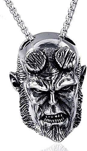 LBBYMX Co.,ltd Necklace Fashion Stainless Steel Hellboy Face Man Men Necklaces Chain Pendants Punk Rock Hip Hop Personality for Man Boy Fashion Jewelry Gift