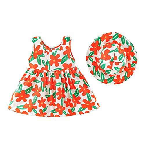 YWLINK NiAs Chaleco Sin Mangas Vestido Color Floral Vestido Floral + Sombrero Suave Outfits Elegante Y Dulce Regalo De CumpleaOs Fiesta De Vacaciones