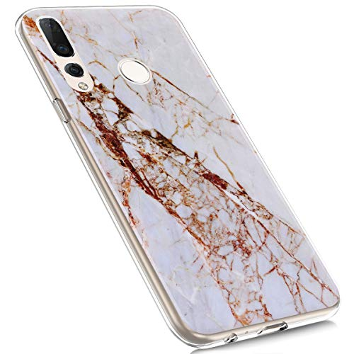 MoreChioce kompatibel mit Huawei Nova 4 Hülle,kompatibel mit Huawei Nova 4 Hülle Transparent,Bunt Marmor Stoßfest Silikon Handyhülle Clear Crystal Schutzhülle Rückschale Tasche,Marmor #2