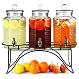 bar@drinkstuff - 3 Dispenser per cocktail & drink, su supporto cromato, capienza: 12 L