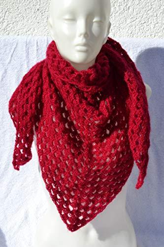 Dreieckstuch Granny Tuch Häkeltuch Halstuch Schal rot von Hand gehäkelt