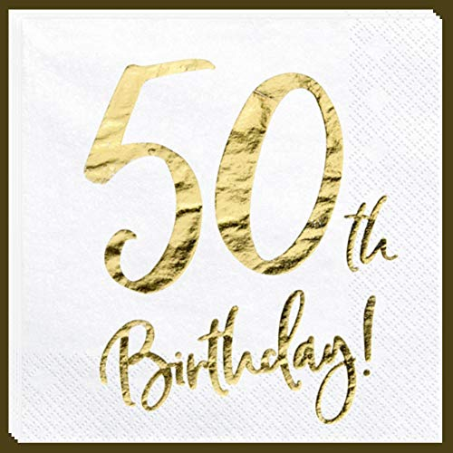 Libetui Servietten 50. Geburtstag Party Servietten '50th Birthday' Deko Geburtstagsparty 50 Jahre Servietten (50. Geburtstag)