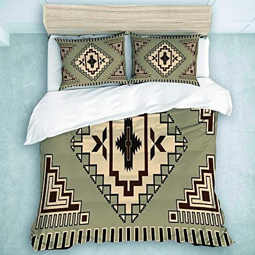 Set copripiumino, motivo della cultura primitiva Ornamento nativo americano con stampa di elementi tribali orientali, copripiumino per uomo, ragazzo, qualità dell'hotel, set 3 pezzi
