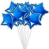 TOYMYTOY Globos de papel de estrella azul | Globos de fiesta de cumpleaños de mylar de cinco puntos de 18 pulgadas-10pcs