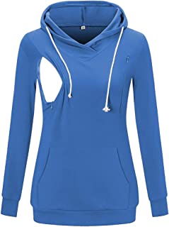 Womens Fleece Maternity & Nursing Sweatshirt Hoodie Zip up Pullover Breastfeeding Top with Pocket
