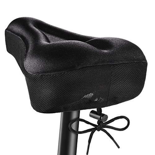 Funda Sillin Bicicleta Gel Comodo, OMorc Acolchada e Impermeable Sillin Gel para la Bici, Tiener Cinta que se Ajusta la Distancia y la Aprieta(No Apto para Bicis Estaticas)