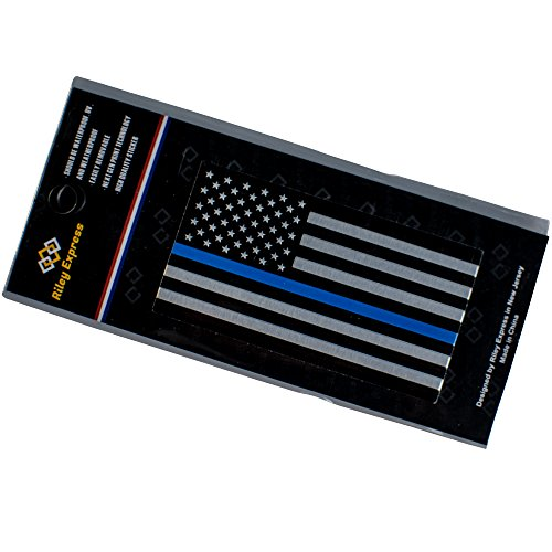 LTD in Support of Police Officers and Law Enforcement Guangzhou Equation Auto CO 1 Pack Riley Express Aluminum Thin Blue Line Decal Blue Lives Matter Sticker Emblem