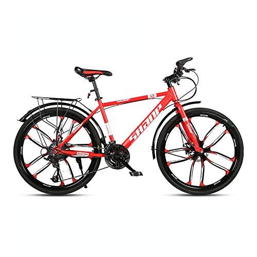 Bicicleta, bicicleta de montaña con ruedas gruesas de 26 pulgadas, bicicleta de 27 velocidades, para adultos y adolescentes, marco de acero con alto contenido de carbono, freno de disco doble, no