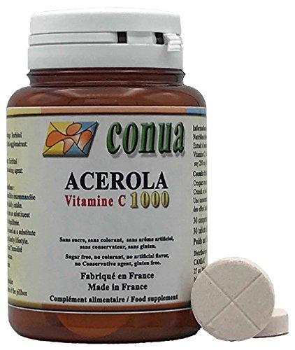 Vitamin C 1000 mg Acérola sécable en 2 ou 4 renfermant 250 mg 25% de Vitamine C 30 comprimés à Croquer Sans sucre, Sans colorant, Sans arôme artificiel, Sans conservateur, Sans gluten, non ogm