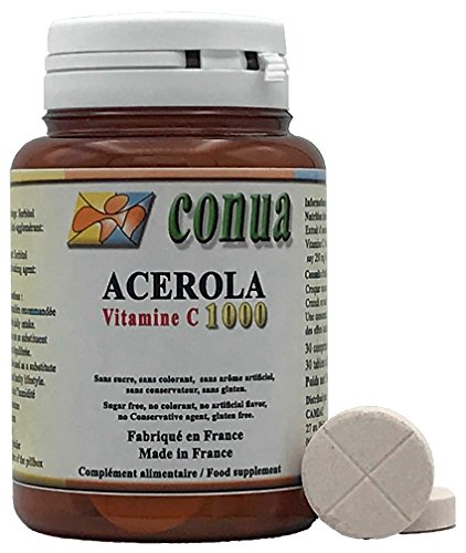 Vitamina C 1000 mg Acerola può essere tagliato in 2 o 4 contenenti 250 mg 25% di vitamin C 30 Compresse masticabili Senza zucchero coloranti aromi artificiali Senza conservanti Senza glutine naturale