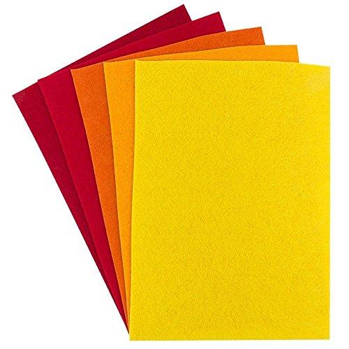 Filz, 2mm stark, DIN A4, 5 Bogen   DIY, Patchwork, Handwerk, Filzstoff, Bastelfilz (Rot-/Gelbtöne)
