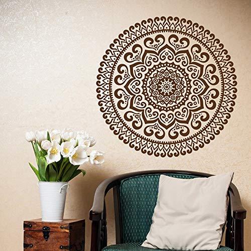 Mandala pared calcomanía Yoga Studio pegatina-Mandala calcomanías patrón marroquí Boho bohemio dormitorio dormitorio pared A5 57x57cm