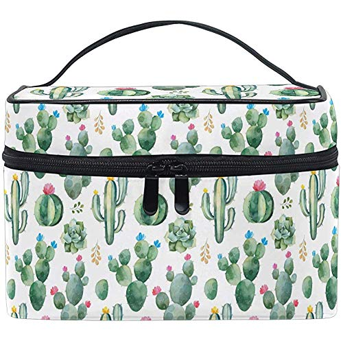 Exotic Cactus Pattern Cosmetic Bag Makeup Bag Toiletry Brush Train Zip Carrying Portable Storage Pouch Bags Box Box