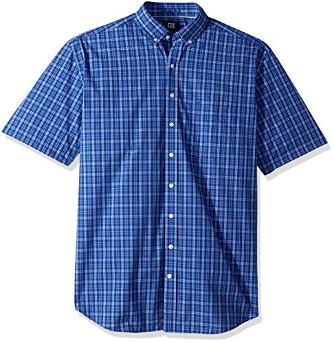 Cutter & Buck Men's Medium Easy Care Button Down Short Sleeve Shirts, Bolt Leo Plaid, Large
