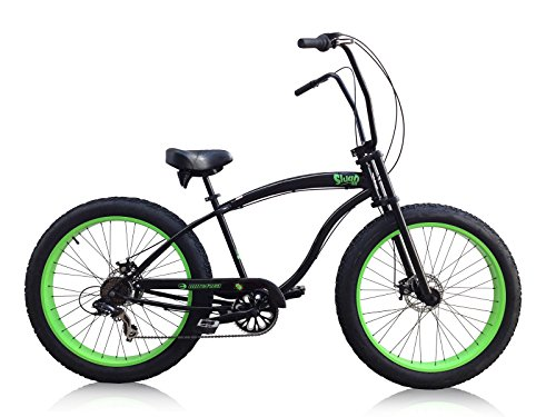 MICARGI Slugo-SS-BK/NGRN 26' Fat Tire Chopper 7sp Cruiser Bicycle, Black/Green