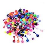 TEEMI 16G Colorful Mixed Plastic Belly Button Navel Ring Body Piercing Jewelry