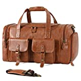 Zeroway PU Leather Travel Duffel Bag with Shoe Pouch Large Carry on Bag Waterproof Weekender Overnight Bag for Men Women Brown