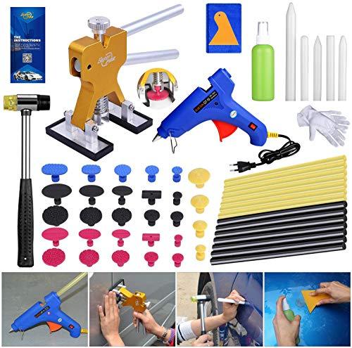 Uhomer Car Dent Removal Kit, Golden Dent Lifter, Werkzeug zum Entfernen von lackfreien Dellen mit Heißschmelzklebepistole, Gummihammer, Klebestiften und Laschenstiften und Anderen Werkzeugen