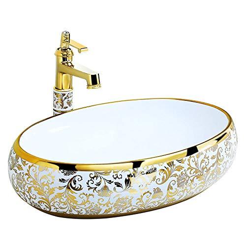 YRRA Baños Lavabo De Cerámica, Lavabo De Recipiente Ovalado, Sin Desbordamiento, Es Muy Moderno, Remodelar El Baño, 58X38x15cm Blanco Dorado,Oro,Sink(+Faucet)