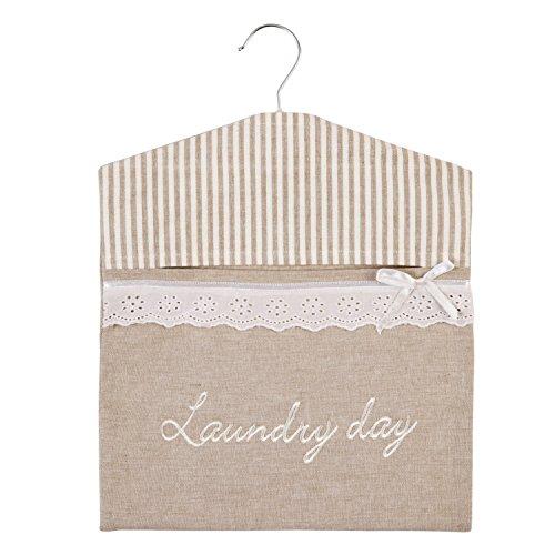 Stoffsack LAUNDRY DAY beige weiß Hängebeutel für Wäscheklammern
