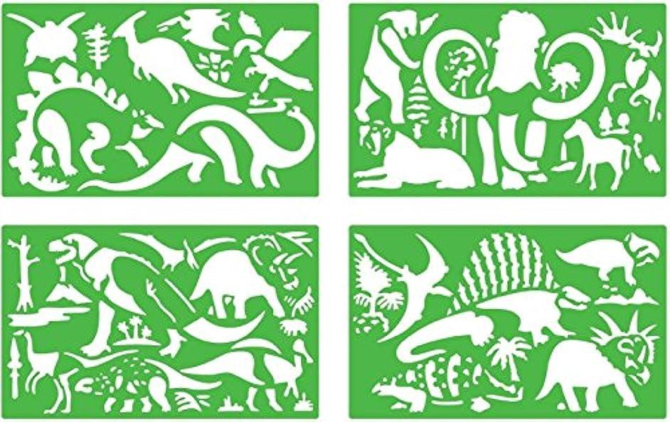 Quercetti Dinosaur Stencil Set (4 Pieces)