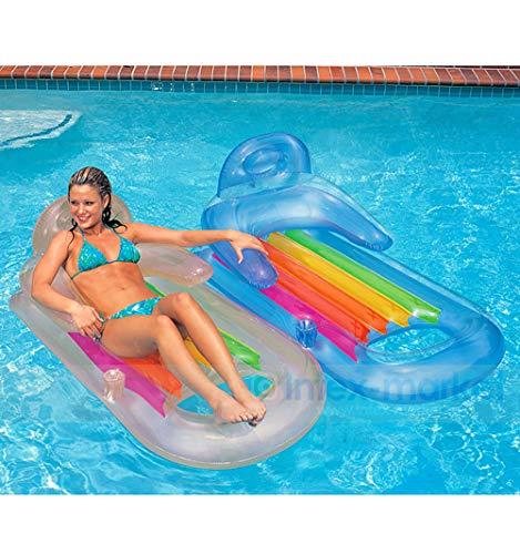 QJJML Aufblasbare Schwimmbett Wasserbett Strandmatte Armlehne RüCkenlehne Luxus Recliner Schwimmende Reihe