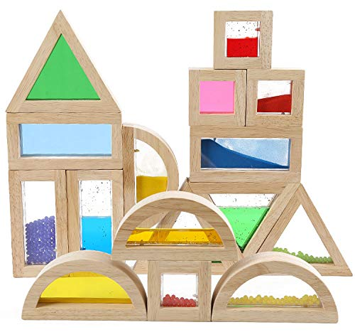 Kidpik Wooden Large Building Blocks for Toddlers Baby Kids 16 Pcs Geometry Sensory Wood Rainbow Stacking Blocks Construction Toys Set Colorful Preschool Learning Educational Toys for Boys Girls