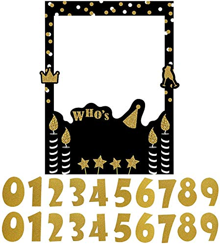 Trgowaul Birthday Selfie Photo Booth Frame Anniversary Black and Gold Birthday Party Photo Props Upgraded Decoration Glittery Version with Support Foam Board