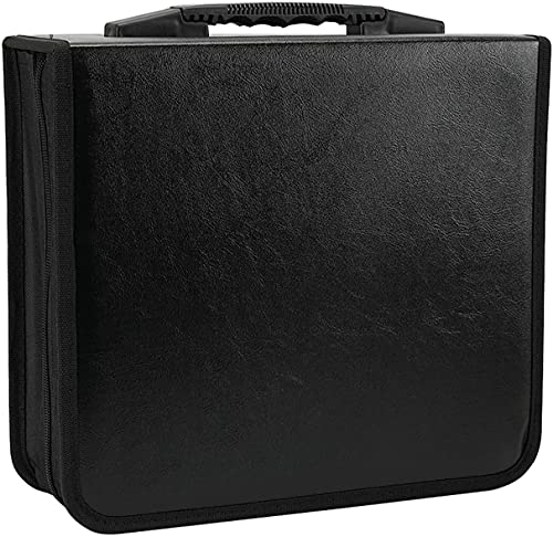 Konelia 520 Capacity PU Leather CD DVD Storage Case Binder Portable VCD Wallet Holder Album for Home Travel Car Office