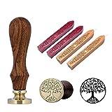 YXHZVON Set di timbri di ceralacca, 1 pezzo di timbro di ceralacca con manico in legno con 4 pezzi di bastoncini di ceralacca per biglietti d'invito Lettere Buste
