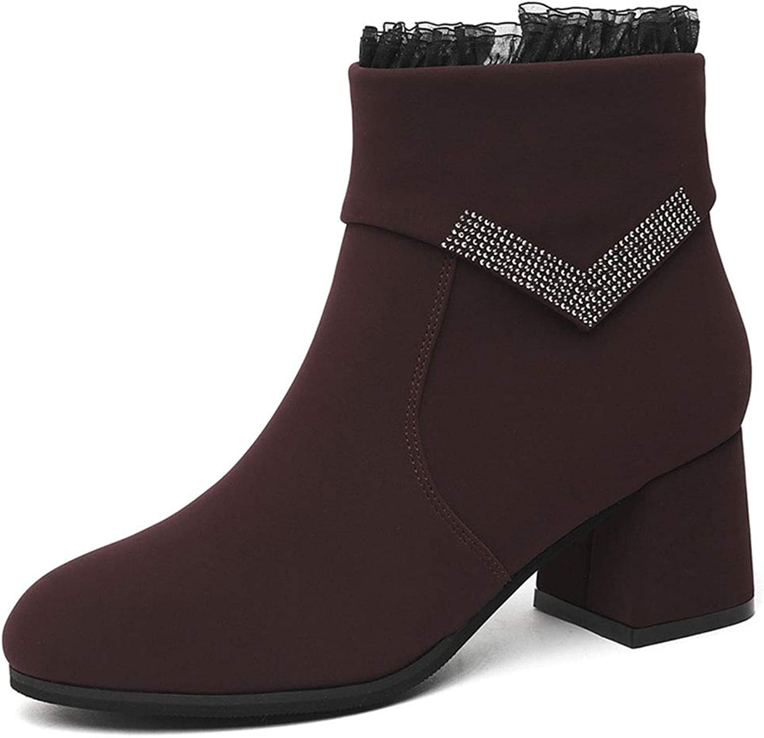 Women's High Heel Ankle Boots, Autumn New Rhinestone Lace Rough Martin Boots Fashion Women's Boots Spring Autumn Women's shoes (color   B, Size   40)