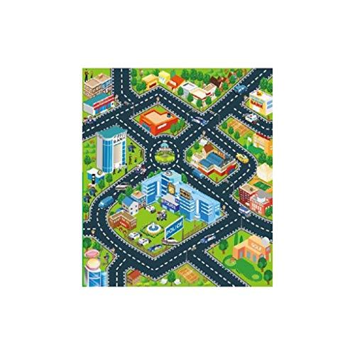 CAOQAO Tapis De Jeu - Trafic - Tapis Circuit,pour Enfants Circuit De Voitures dans La Ville,Jeu Fun Baby Crawling Mat Tapis BéBé Enfant,Paysages Routiers DifféRents comme Un Cadeau d'anniversaire,B