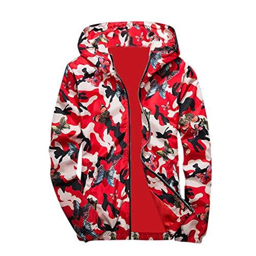 HULKY Uomo Felpe Cappotti,Upgrade Moda Camouflage Farfalla Stampa con Cappuccio Top Camicetta Capispalla Hip Hop Pullover Uomo Cappotto(Rosso,Medium)