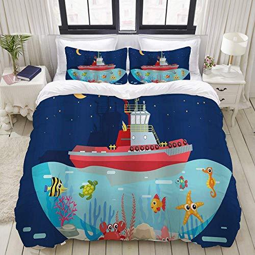 Rorun Bettbezug, Segelboot Marine Fish Unterwasser Cartoon Sternenhimmel Nacht Niedliches Tier für Kinder, Bettwäscheset Ultra Bequeme leichte Luxus-Mikrofasersets