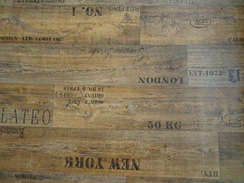 PVC mit Schriftzügen, braun - von Alpha-Tex 9.95€/m² (Länge: 100 cm, Breite: 200cm)