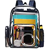 Clear Backpack, BuyAgain Large Heavy Duty Transparent Backpack Bookbag for School Work Travel