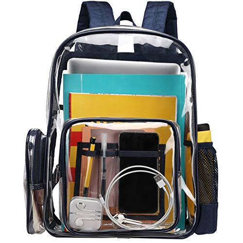 BuyAgain Large Clear Backpack Heavy Duty Transparent Backpack Bookbag