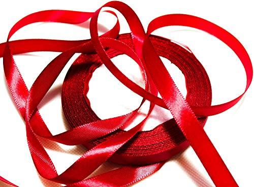 CaPiSo 22m Satinband 10mm Breite Schleifenband Geschenkband Dekoband Weihnachten Hochzeit (Bordeaux)