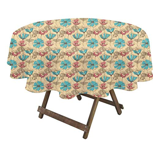 prunushome Vintage Dining Table Cover Blossoming Flowers Antique Artistic Flora with Color Details Ornate Garden for Outdoor and Indoor Use Pink Tan Sky Blue   70' Round
