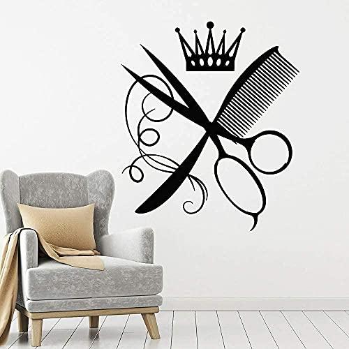 Pegatina de pared para peluquería, peine, tijeras, corona, salón de belleza, pegatina de pared para salón de belleza, accesorios de decoración para peluquería de vinilo 67X57Cm