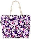 VOID Flamingo Palms púrpura Bolsa de Playa 58x38x16cm 23L Shopper Bolsa de Viaje Compras Beach Bag Bolso