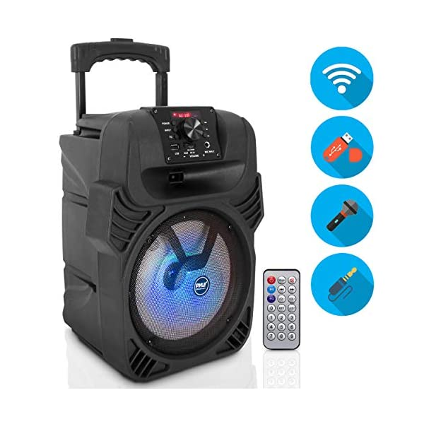 """400W Portable Bluetooth PA Loudspeaker – 8"""" Subwoofer System, 4 Ohm/55-20kHz, USB/MP3/FM Radio/ ¼ Mic Inputs, Multi-Color LED Lights, Built-in Rechargeable Battery w/ Remote Control – Pyle PPHP844B"""