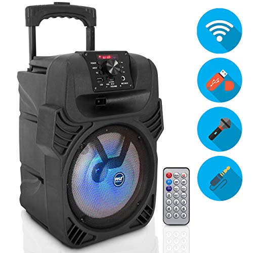 """400W Portable Bluetooth PA Loudspeaker - 8"""" Subwoofer System, 4 Ohm/55-20kHz, USB/MP3/FM Radio/ ¼ Mic Inputs, Multi-Color LED Lights, Built-in Rechargeable Battery w/ Remote Control - Pyle PPHP844B"""