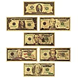 LONG7INES USA President 1/2/5/10/20/50/100 Dollar Bill Banknote, 24k Gold Coated Legacy Limited Edition Chief Executive Banknote Bill Great Gift for Coin Currency Collectors and Republican (7 Pack)