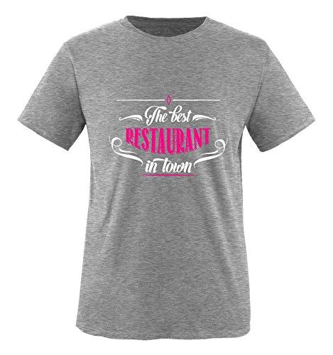 Comedy Shirts - The Best Restaurant in Town - Mädchen T-Shirt - Grau/Weiss-Pink Gr. 110/116