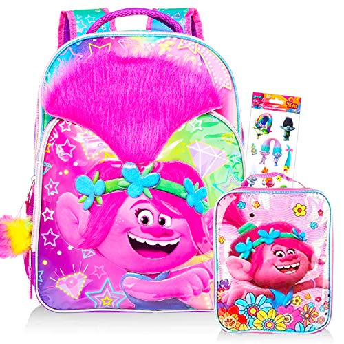 Trolls Backpack with Lunch Box Bundle Set ~ Premium 16' Trolls School Bag with Real Hair, Insulated Lunch Bag, and Trolls Stickers (Trolls School Supplies)