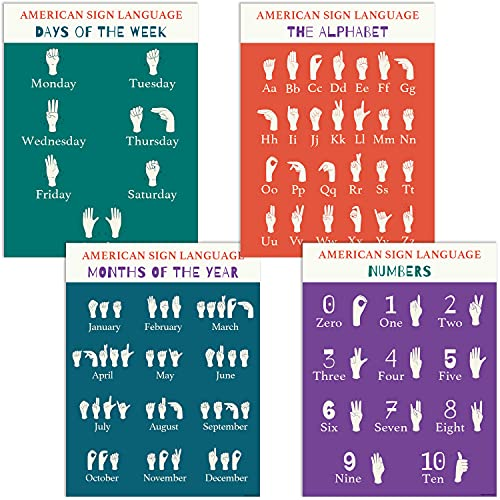 4 American Sign Language Posters – ASL Posters Include Days, Months, Numbers and Sign Language Alphabet Poster. 13x17 inches Dry-Erase Charts Made in USA.
