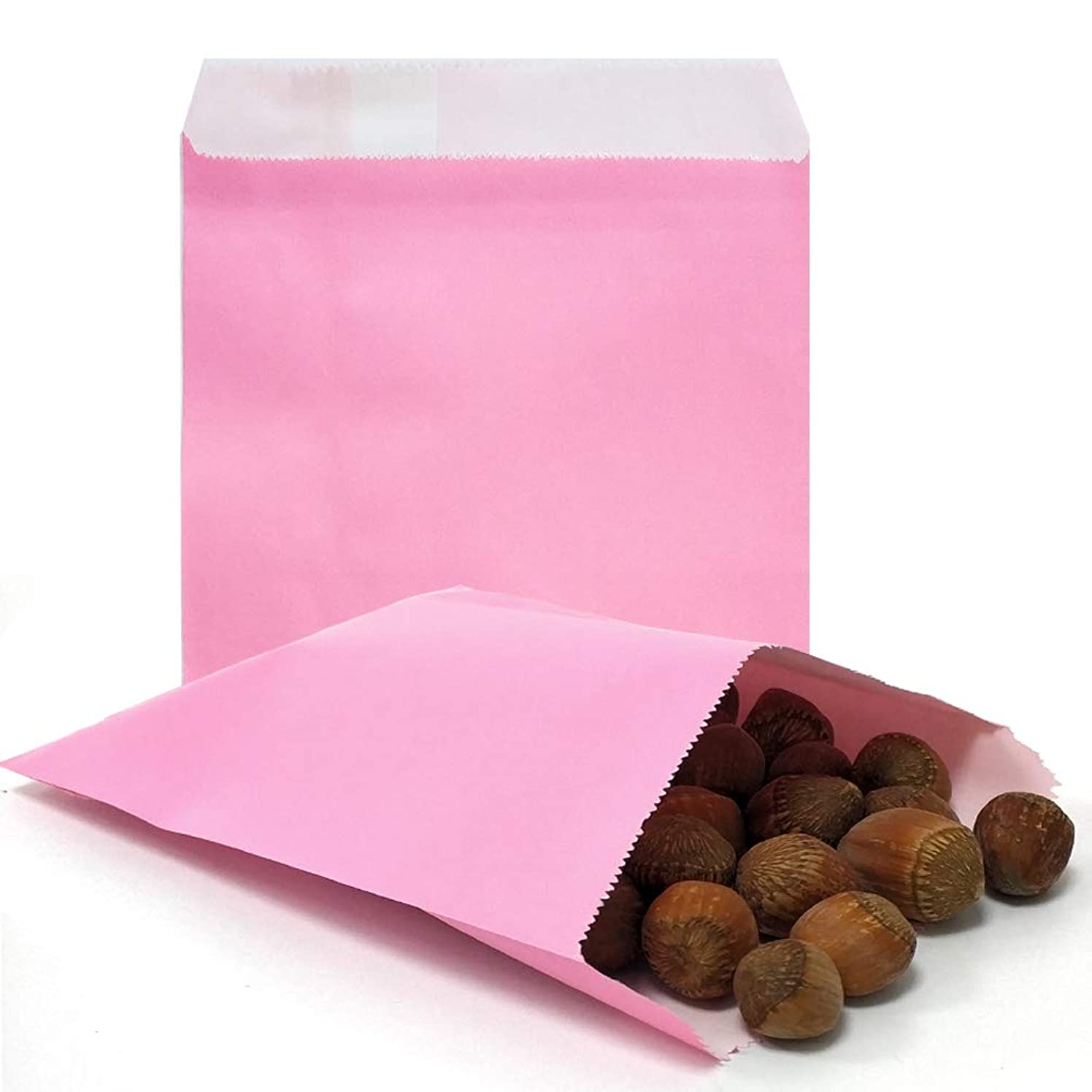 AZOWA 100 CT Small Paper Treat Sacks Pink 5 x 7 Inches Candy Buffet Bags for Party